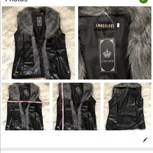 Faux Leather And Fur Vest, NWT